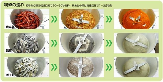 フリースピードミル 粉砕例 唐辛子、昆布、煮干し