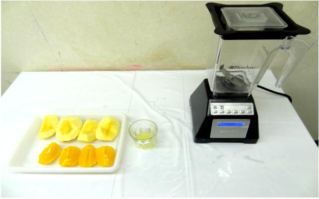 フルーツレザー作り 果物をピューレ状にする