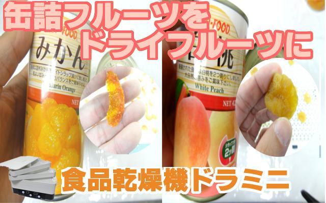 缶詰フルーツ(みかん、桃)をドライフルーツに