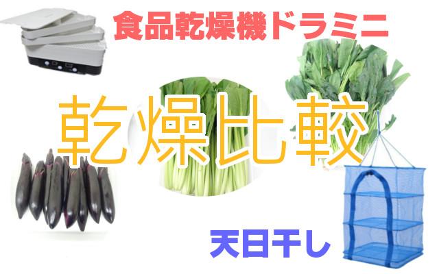 小松菜 ほうれん草 茄子 天日干しと食品乾燥機の乾燥比較