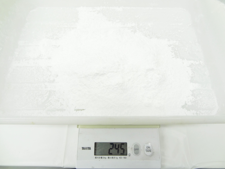 10分後 245gフルイ通過したグラニュー糖